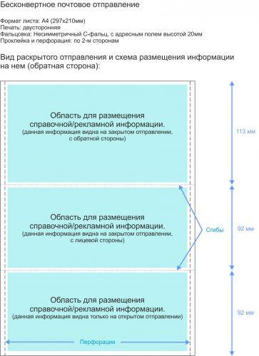 Несимметричный C-фальц - двусторонний - обратная сторона